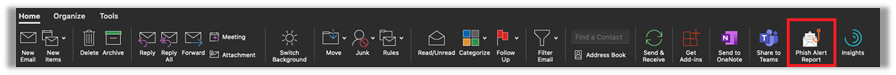 Dark Background; Outlook client ribbon with Phish Alert Button circled in red.